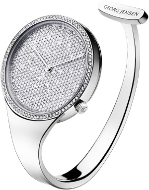 Georg Jensen Vivianna Pavé 326 - open bangle steel watch with large dial and pavé set diamonds: US$19,995.