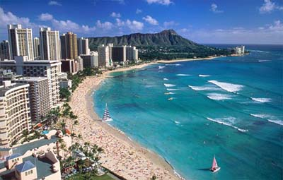 Waikiki Beach, Honolulu, island of O'ahu, Hawaii, U.S.A.