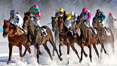White Turf horse race St. Moritz, Switzerland.