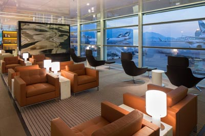 Cathay Pacific,'s Wing Lounge at Hong Kong International Airport.