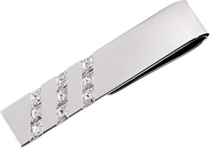 Harry Winston Three Row Tie Bar, 9 lozenge-cut diamonds, 18k white gold.