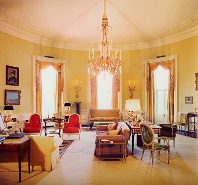 The Yellow Oval Room at the White House during the administration of President John F. Kennedy, as decorated by Sister Parish.