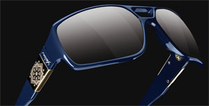Yeslam Model 309 Indigo temples and frame / Golden metalic arabesc logo / Smoked lens men's sunglasses.