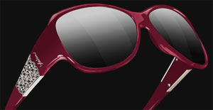 Yeslam Model 308 Red temples and frame / Delicate silver metalic cut-out arabescs with clear crystals / Smoked lens women's sunglasses.