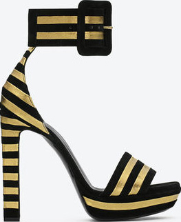 Yves Saint Laurent Paloma Platform Sandal in Black Suede and Gold Lame Leather: US$1,195.