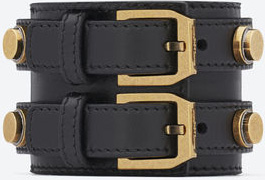 Yves Saint Laurent de Force Cuff in Black Leather and Gold Toned Brass: US$825.
