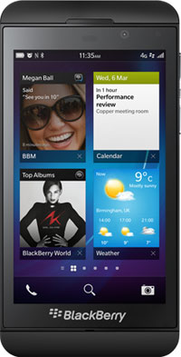 Blackberry Z10 smartphone.