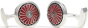 Zaharoff Whimsical Fan Cufflinks in True Red: US$175.