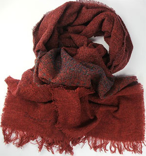 Zaharoff Red Moscow Cashmere and Wool Bouclé Men's Scarf: US$100.