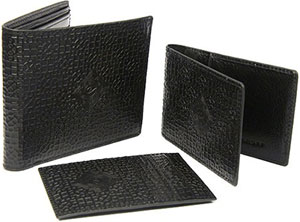 Zaharoff Black Leather Wallet Set: US$395.