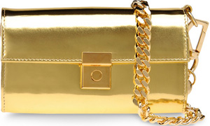 Giuseppe Zanotti Flap Handbag in Gold Mirror-Effect Patent Leather Handbag: £595.