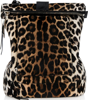 Giuseppe Zanotti Leopard print pony fur backpack with oversized zipper pull with talon pendant: US$3,025.