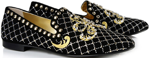 Giuseppe Zanotti Black suede loafers, gold embroidery and studded/crystal appliqué: €950.