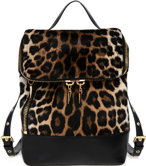 Giuseppe Zanotti Leopard print backpack. Detail: two talon jewels double as zipper pulls: US$2,650.