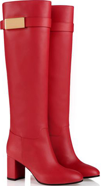 Giuseppe Zanotti Red nappa boot with golden buckle and square heel: €1,025.