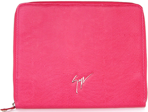 Giuseppe Zanotti Fuchsia lizard-print i-pad case with zip fastening. Very cool: €425.
