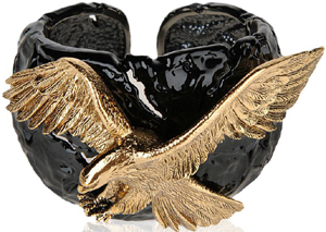 Giuseppe Zanotti Black painted metal bracelet and aged gold eagle accessory: €775.