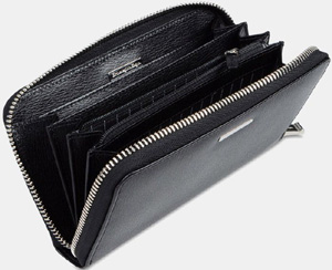 Ermenegildo Zegna Travel Pouch in goat printed black calf leather: US$525.
