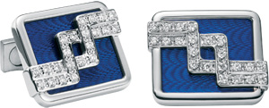 Zilli 18 Carat White Gold (25 g), 44 White Diamonds (0.80 g) and Blue Enamel Cufflinks.