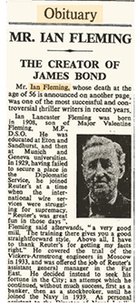 Ian Fleming - The Times obituary: The Times, August 13, 1964.