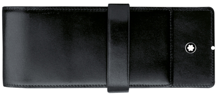 Montblanc Meisterstück Pouch for three writing instruments made of black full-grain calfskin with black jacquard lining, with compartment for 3 writing instruments the size of Meisterstück Classique or LeGrand.
