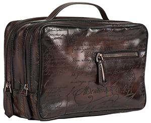 Berluti Venezia Gloria Scritto leather toiletry bag.