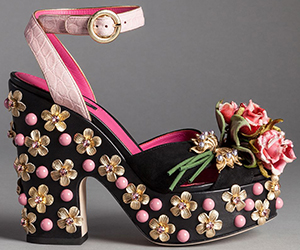 Dolce&Gabbana Suede Bianca Sandals with Embroidered Flower Brooches: US$2,945.