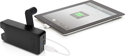 Eton NBOTU4000B Rechargeable USB Battery Pack with Hand Turbine Power Generator, Black: US$79.99.