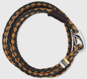 Paul Smith Men's Taupe And Green Leather Wrap Bracelet: €119.