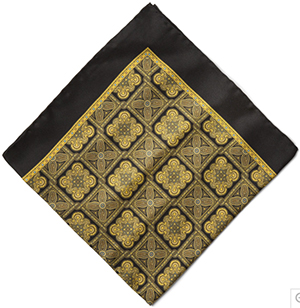Paul Stuart Baroque Pattern Men's Silk Pocket Square: US$79.50.