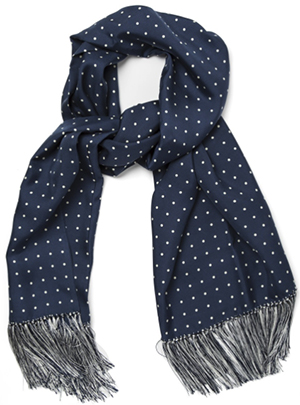 Paul Stuart Navy Polka Dot Men's Silk Scarf: US$428.