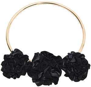 Paule Ka Metallic Necklace with Leather Flowers: €390.
