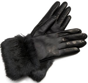 Aspinal of London Ladies Fur Cuffed Leather Gloves Nappa Gloves.