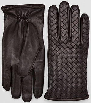 Bottega Veneta Ebano Nappa Gloves: US$480.