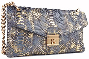 Roberto Botticelli black python bag with golden shadow: €989.