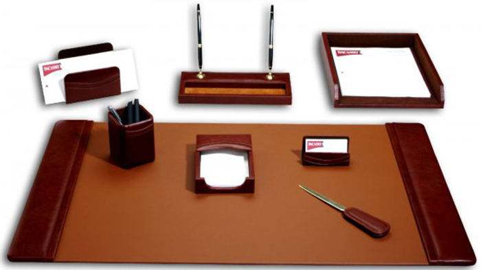 Office desk accessories and office supplies.