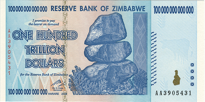 Zimbabwean banknote (100 trillion dollars) - world's largest single denomination banknote.