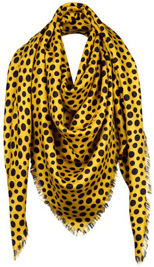 Yayoi Kusama for Louis Vuitton Monogram Dots Infinity Yellow Shawl: US$860.