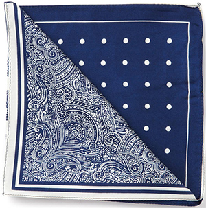 Austin Reed men's blue / cream 4 section silk handkerchief: £25.