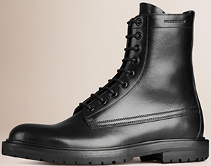 Burberry Men's Leather Military Boots: US$1,050.