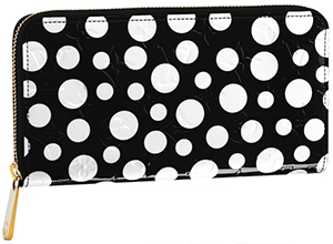 Yayoi Kusama for Louis Vuitton Monogram Vernis Dots Infinity Zippy Black Wallet: US$1,050.