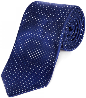 Huntsman Blue Silk Tie with Miniature White Polka Dot: £110.