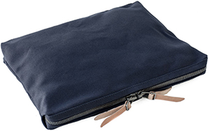 Makr Single zip pouch with open interior and gusseted top and bottom: US$110.