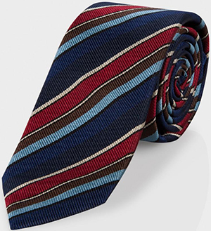 Paul Smith Men's Damson And Blue Diagonal Stripe Narrow Silk Tie: €110.