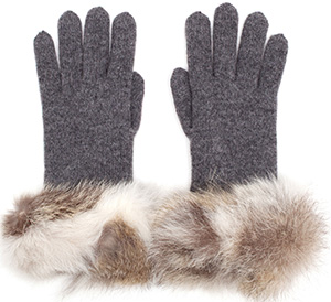 Inverni Wool-Cashmere Women's Gloves with Fur Trim: €215.