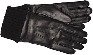 J.Press Deerskin with Wool Cuff-Black men's gloves: US$195.