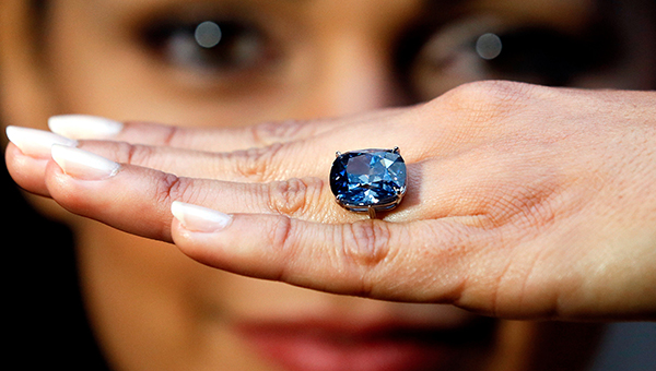 The 12.03-carat Fancy Vivid Internally Flawles Blue Moon of Josephine Diamond sold for US$48.468.158 million at Sotherby's in Geneva on November 11, 2015. The gem also set a world record for any jewel at more than US$4 million per carat.