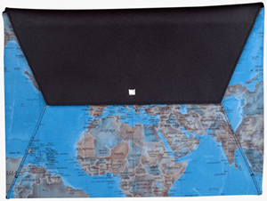 Tateossian Mappa Mundi Document Envelope in Blue and Brown Leather: €495.