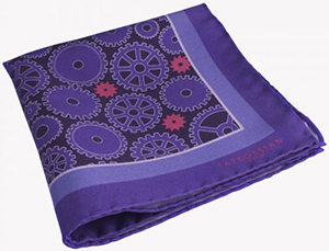 Tateossian Gear Patterned Silk Pocket Square in Purple: €49.
