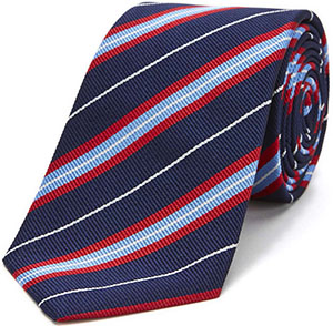 Turnbull & Asser slim traditional stripe tie in navy blue and red: €165.